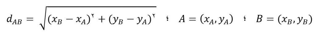 اندازه گیری فاصله به روش محاسبه ای برای محتصات دکارتی